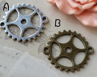 28 mm Gearwheel Charm Pendants (.sn).