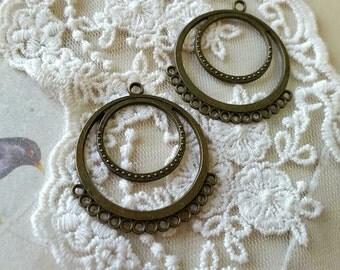 38 x 32 mm Antiqued Bronze Thick Connectors / Earring Posts (.shg)
