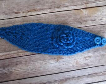 Turquoise Blue Crochet Flower Head warmer, Ear warmer, Headband- Adjustable size