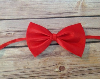 Solid Satin Bow Tie - Red