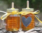 Mini Mason Jar Cup Mug Honey Jar with Birch Dipper, Wedding Mason Jar, Party Favor, Bridal Shower, Christmas Gift, Stocking Stuffer