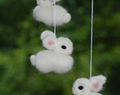 Reserved Listing for Greta, All White Bunny Mobile Needle Fellted 6 Bunnies