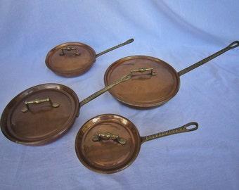 Vintage Copper Pans, S/4