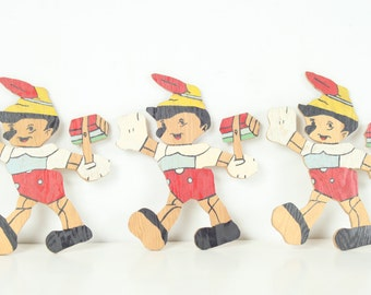 Set of 3 Vintage Handpainted Wooden Pinocchio Cut Outs, Folk Art, Home Decor