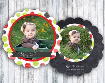 Scalloped Die Cut Photo Christmas Cards - Holiday Cheer