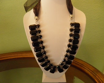 Beautiful Rhinestone, Black Glass Necklace in that Old Hollywood Style with Added Black Ribbon.