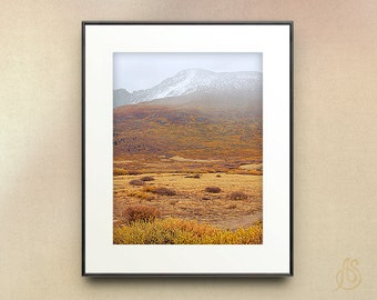 Colorado Mountain Photography // Autumn Fall Colors // Snowy Mountain // Wall Art //  5x7 8x10 8x12 11x14