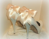 Bridal Shoe Clips - Satin Bows - MANY COLORS AVAILABLE womens shoe clips wedding shoes clip
