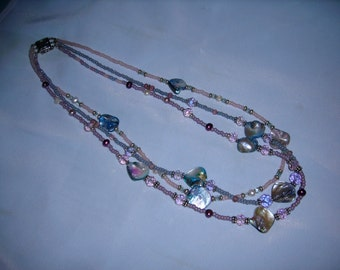 Pastel shell beads with pearls, crystals and seed beads, 3 strand necklace