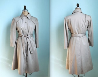vintage 1970s womens military style tan belted trench coat / plaid wool lined / size small to medium / petite