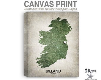Ireland Map Stretched Canvas Print - Home Is Where The Heart Is Love Map - Original Personalized Map Print on Canvas
