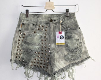 Denim Cutoff Shorts - High Waisted, Bleach Wash, Heavily Studded on the Front and Frayed
