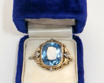 Vintage 14K Blue Spinel Diamond Ring Size 7