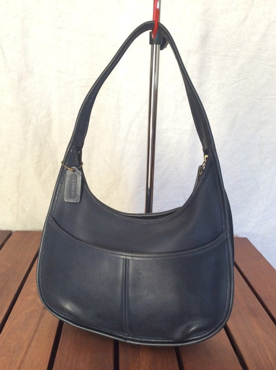 Genuine Vintage Coach Blue Leather Hobo Bag Shoulder Bag