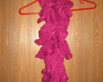 Women's Hand Knit Scarf- Hot Pink