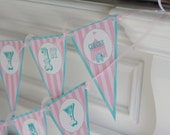 Happy Birthday Pennant Flag Pink & Blue Vintage Circus Elephant Theme Banner - Ask About Our Party Pack Specials - Free Ship Over 65.00