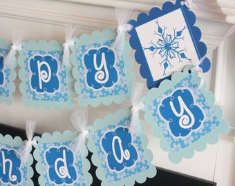 Happy Birthday Winter Snowflake Royal Blue Light Blue ONEderland Banner - Light Blue and Royal Blue -  Party Packs Available