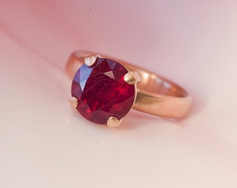 Gold Ruby Ring  - Ruby Ring in 18k Rose Gold - Large Ruby set in Satin Finished 18k Rose Gold - Made to Order - FREE SHIPPING