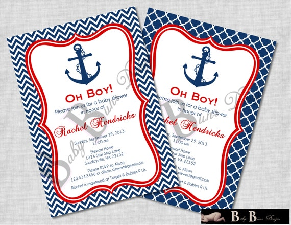 Nautical Boy Baby Shower Invitation (Navy & Red)-