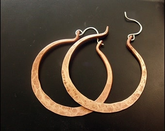 Afro - BIG copper hoops with sterling silver earwires