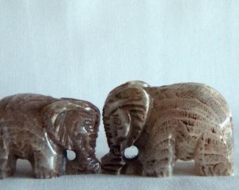 vintage - unique - gorgeous SET of elephant FIGURE - stone book holders