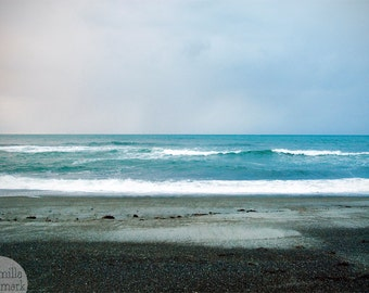 Digital download - photography decor beach seascape wilderness stormy waves blue turqoise
