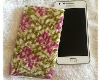 Seed bead crocheted phone case Galaxy S3/S4/S5  bag pouch green and pink vintage royal lily pattern
