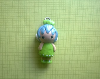 Fairy Chibi Polymer Clay Charm Green and Blue Cute Small Wings Keychain Gift Ooak