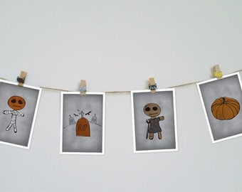 DIGITAL halloween postcards-make your own mini bunting-printable download-instant download