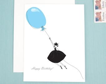 Birthday Card, Note Card, Birthday girl, fashion illustration blue balloon, Happy Birthday Card
