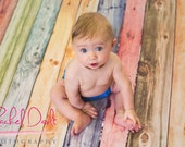 4ft x 3ft Vinyl Photography Backdrop / Watercolor Rainbow Wood