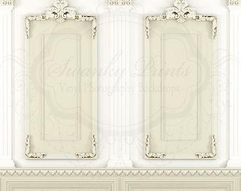 SWANKY PRINTS ORIGINAL 6ft x 6ft Vinyl Photography Backdrop /  Boudoir / Cream Elegant Victorian Wall