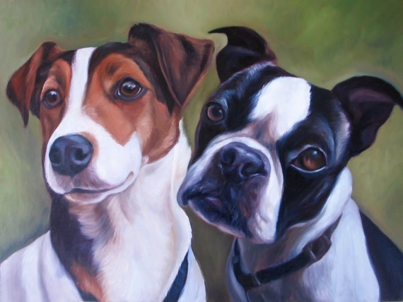 Custom Pet Portrait Oil Painting - Jack Russel Terrier - Boston Terrier - Perfect Gift - 16x20