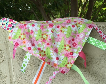 SALE Springy Pinky Frogs Tag Blanket your choice of minky color // In Stock, Ready to Ship