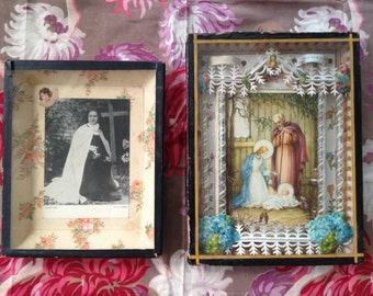 lot of 2 Antique reliquary frame religious Holy card relic frame paperolles catholic relic w handmade paper lace,1920s