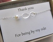 Thank You Infinity Bracelet- STERLING SILVER-  Wedding jewelry, Bridesmaids bracelet infinity jewelry figure eight bridal favor wed gifts