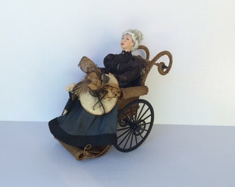 MADE TO ORDER Miniature Wicker Wheelchair for Dollhouses 1""