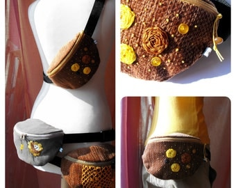 SALE*** 50% OFF in June*** fanny pack/hip bag -  brown and mustard (normal size)