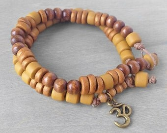 Golden Brown Om Bracelet - Yoga Bracelet Set - Om Aum Bracelet - Bronze Om Meditation Bracelet - Energy Bracelet