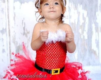 Christmas Santa Tutu with Santa hat headband-- Santa tutu-- Christmas tutu-- Holiday tutu-- Girls Christmas Dress