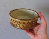 Small Yellow and brown Wheel-thrown casserole / bowl