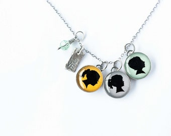 Mom Charm Necklace with Three Charms