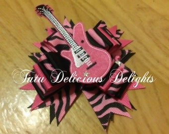Rock N Roll Zebra  Pink and Black Bow