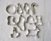 New 10 COOKIE CUTTERS Metal Christmas Bell Boot Reindeer Candle Candy Cane Ornaments