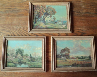 3 Vintage Lithographic Cardboard Canvas Prints in matching frames of beautiful bucolic landscape scenes, 1940 Prints in Vintage Condition