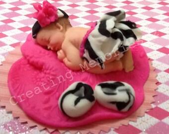 Fondant Zebra Print Cake Topper/Cake Supplies/Baby Girl Cake Topper/flower/baby Girl/Easter Topper