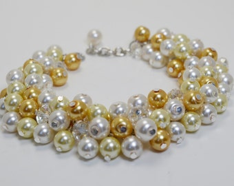 Pearl Bracelet, Yellow and White Pearl Bracelet, Chunky Jewelry, Bridal Pearl Jewelry, Bridesmaid Pearl Cluster Bracelet, Yellow Bracelet