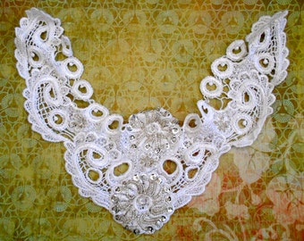 White Silver Beaded Appliques