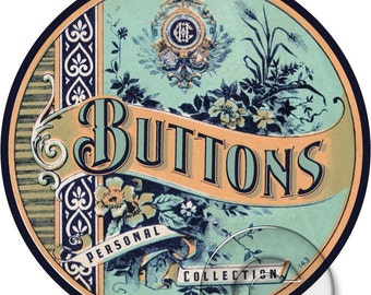 Antique Vintage Button Label Digital File Printable Print