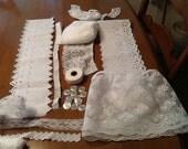 Inspirational bundles, lace destash, creative bundle, wedding, white lace bundle, vintage